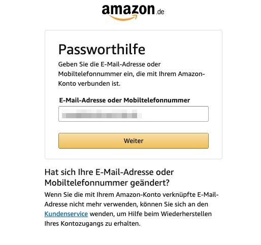 Amazon Passwort Zurückgesetzt