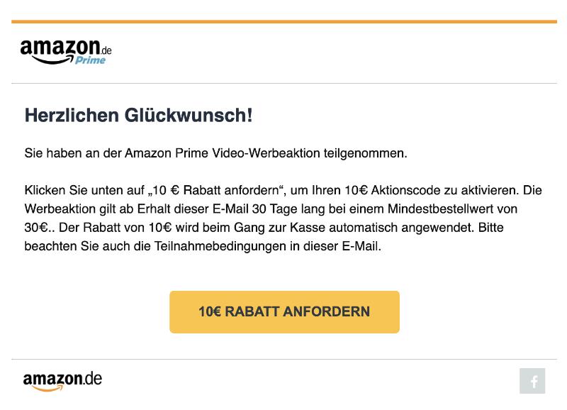 Amazon E-Mail Ihr Geschenk fuer Ihren Amazon Prime Video Stream- Aktionsgutschein
