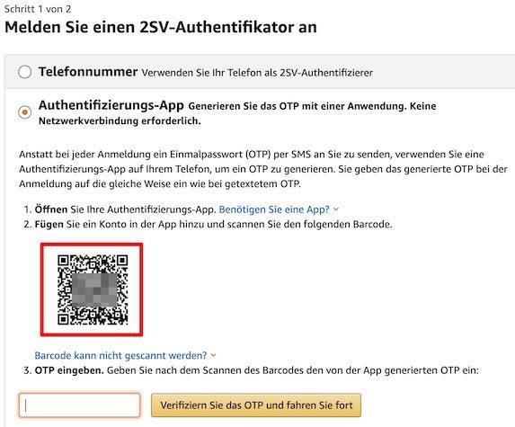 Amazon 2SV einrichten Bild 10