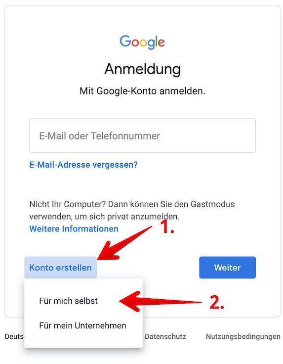 Google Konto einrichten Bild 2