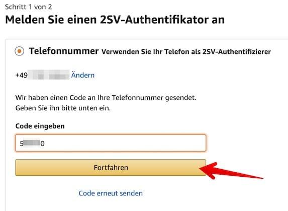 Amazon 2SV einrichten Bild 7