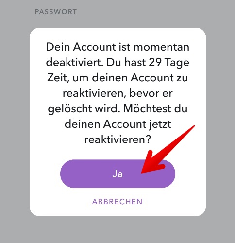 Snapchat Konto reaktivieren 2