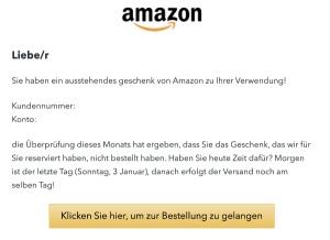 2020-01-03 Amazon Spam-Mail Das reservierte Geschenk wartet auf die Lieferung