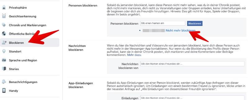 Facebook Blockierung Sehen