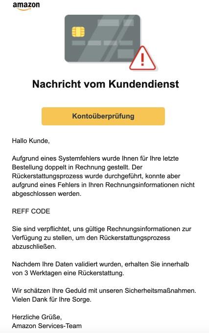 2021-01-03 Amazon Phishing-Mail Ihr Konto wird automatisch begrenzt