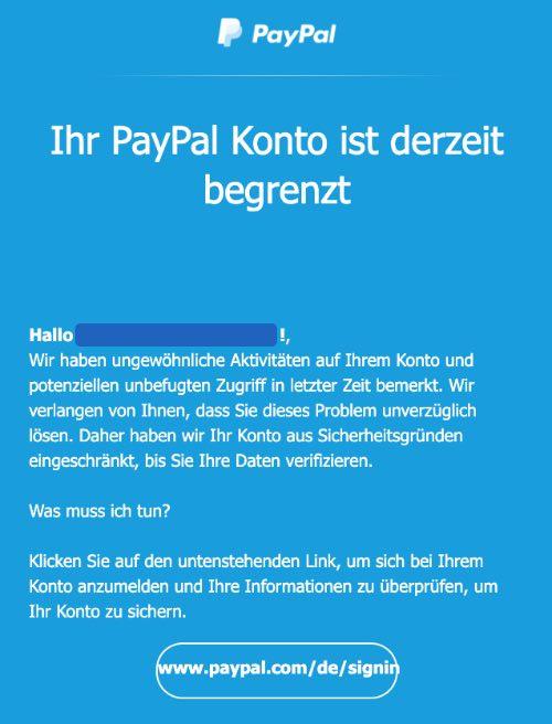 2021-01-19 PayPal Spam Phishing-Mail Fake Ihr PayPal Konto ist derzeit begrenzt