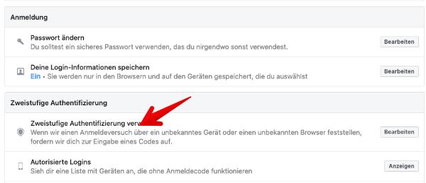 Zweistufige Authentifizierung Facebook