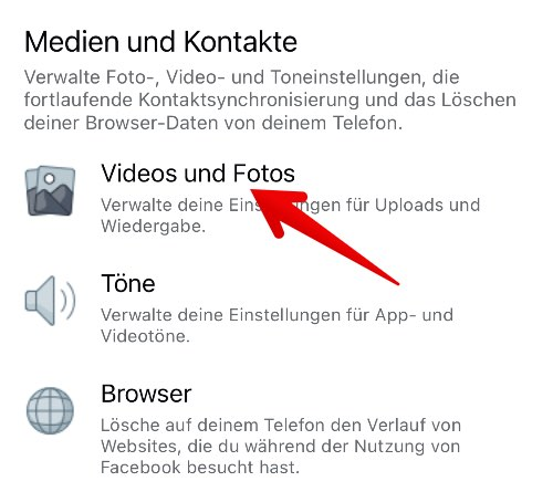 Facebook-App Autoplay deaktivieren 3