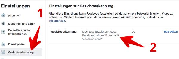 Facebook Gesichtserkennung deaktivieren 2