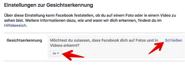 Facebook Gesichtserkennung deaktivieren 3