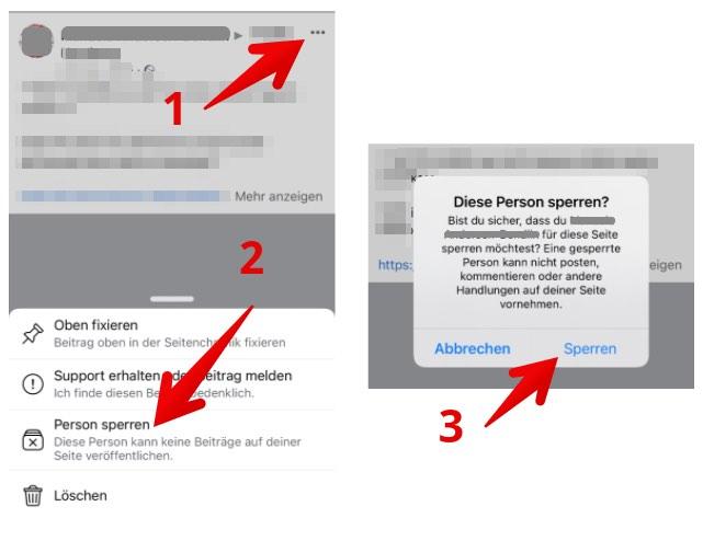 Facebook Seite Person über Beitrag blockieren