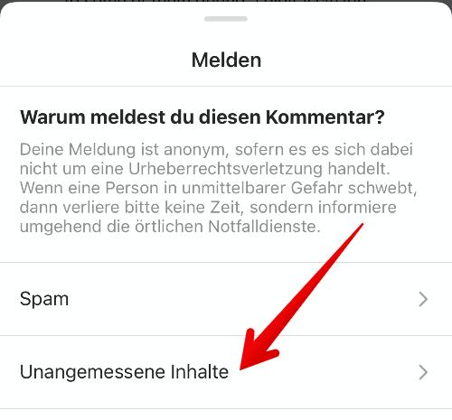 Instagram Anleitung Kommentar melden 4