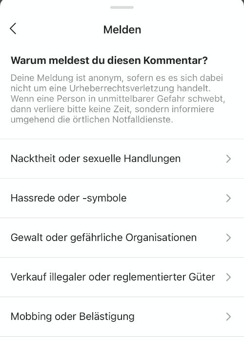 Instagram Anleitung Kommentar melden 5