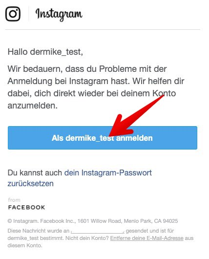 Instagram Passwort zurücksetzen 4