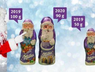 Milka Weihnachtsmann weniger Gewicht