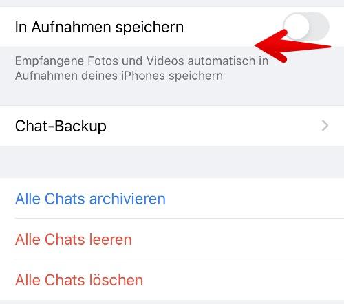 WhatsApp Fotos Speicherung deaktivieren