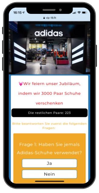 WhatsApp Kettenbrief Adidas-Jubilaeum 1