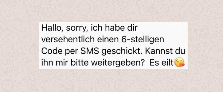WhatsApp Nachricht 6-stelliger Code Betrug