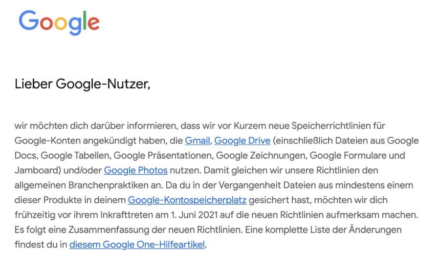 2020-12-13 Aenderung Google Speicher-Richtlinien