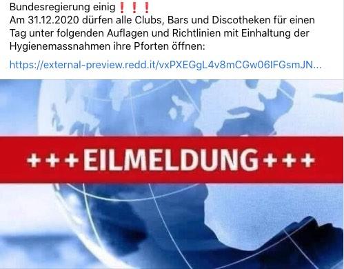2020-12-21 Facebook Post Silvester Öffnung Bars