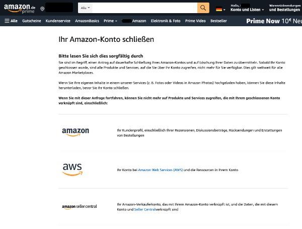 Amazon Konto löschen 2