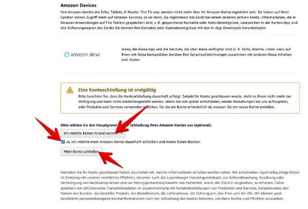 Amazon Konto löschen 3