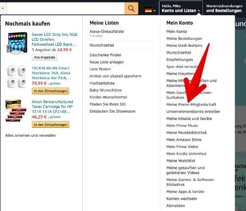 Amazon Prime kündigen 2
