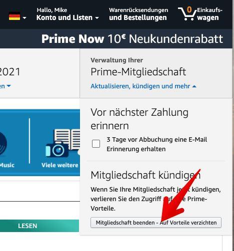 Amazon Prime kündigen 3