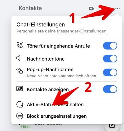 Facebook Webseite Aktiv-Status ausschalten 1