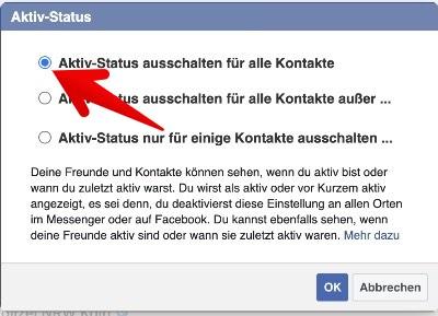 Facebook Webseite Aktiv-Status ausschalten 2