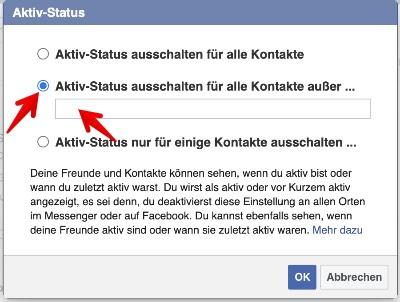 Facebook Webseite Aktiv-Status ausschalten 3