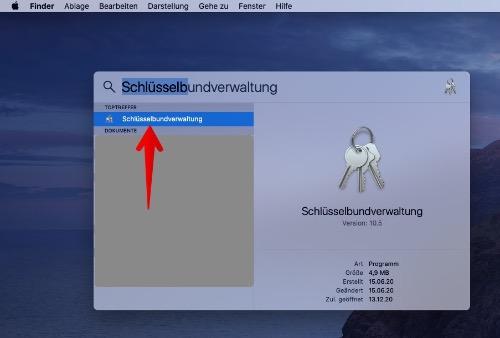 MAC WLAN-Passwort anzeigen 2