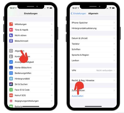 iPhone ausschalten ohne Tasten