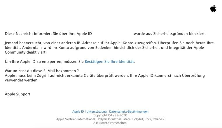 2021-01-09 Apple Spam Fake-Mail Ihre Apple ID wurde gesperrt
