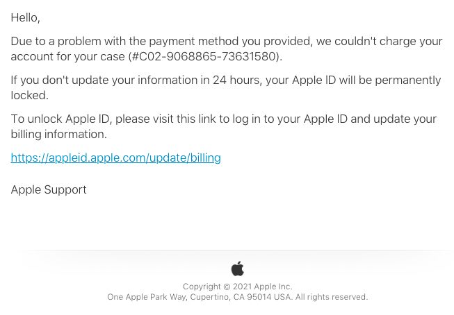 2021-01-16 Apple Spam-Mail Fake Case-ID