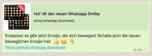 WhatsApp-Nachricht bewegliche Smileys