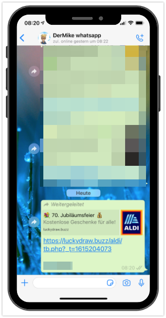 WhatsApp Aldi verlost kostenlose Geschenke Kettenbrief