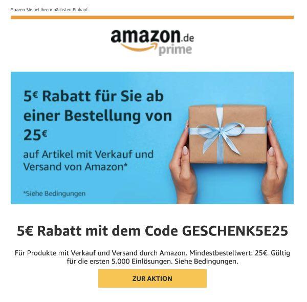 Amazon E-Mail Jetzt 5Euro Sofort-Rabatt ab 25Euro Bestellwert sichern