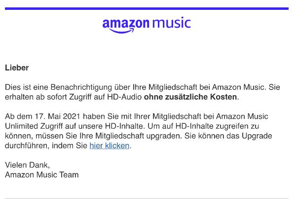 E-Mail von Amazon Update zu Ihrer Mitgliedschaft bei Amazon Music