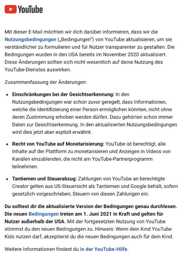 YouTube E-Mail neue Nutzungsbedingungen