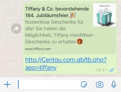 Kettenbrief im Namen von Tiffany 184 Geburtstag